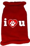 I Love You Screen Print Knit Pet Sweater SM Red